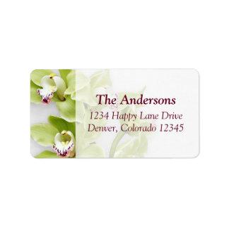 Etiquetas de dirección verdes del boda de la orquí