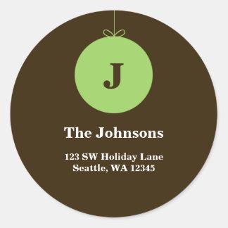 Etiquetas de dirección verdes del monograma del pegatina redonda