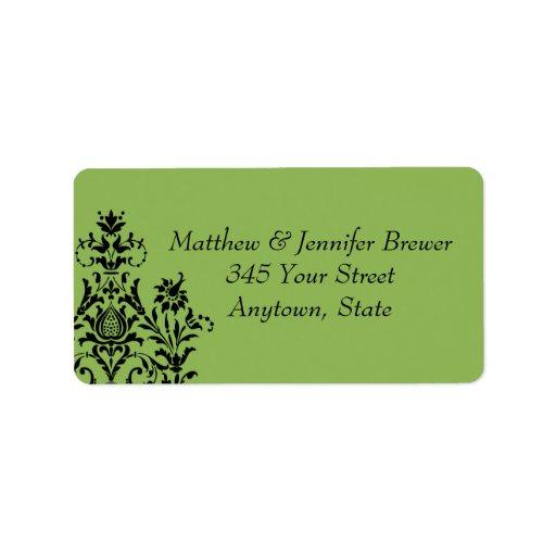 Etiquetas de dirección verdes del sobre del boda d