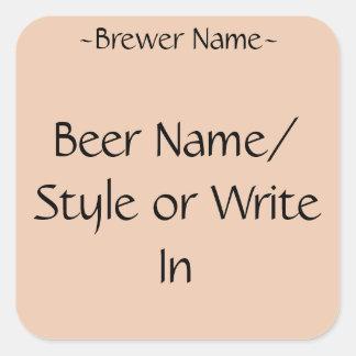 Etiquetas de encargo de la botella de cerveza del pegatina cuadrada