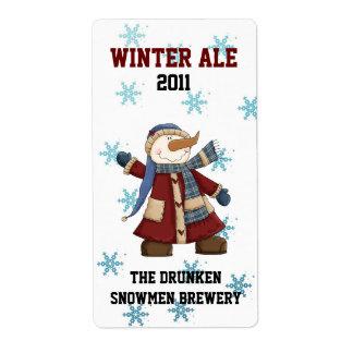 Etiquetas de encargo de la cerveza del invierno de etiqueta de envío