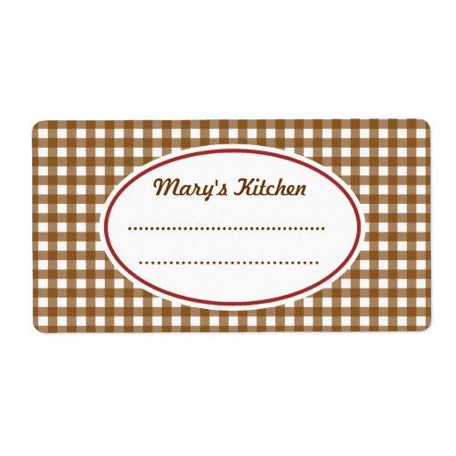 Etiquetas de encargo de la cocina de la guinga de  etiqueta de envío