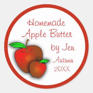 Etiquetas de encargo de la compota de manzanas o pegatina redonda