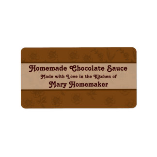 Etiquetas de encargo de la salsa de chocolate o de etiquetas de dirección