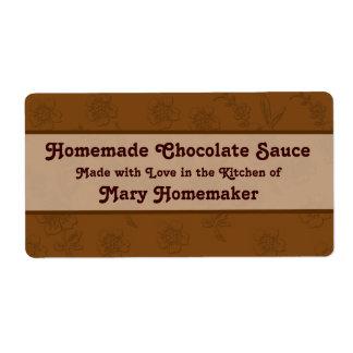 Etiquetas de encargo de la salsa de chocolate o de etiquetas de envío