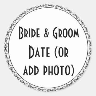Etiquetas de encargo del boda de la botella de pegatina redonda