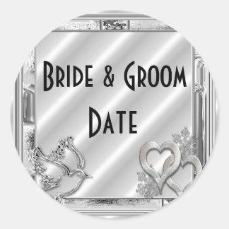 Etiquetas de encargo del boda del invierno de la pegatina redonda