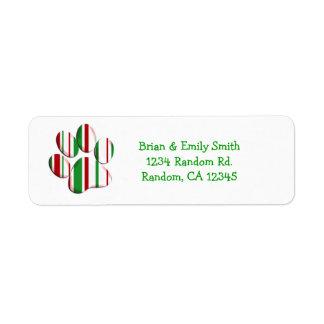 Etiquetas de encargo del día de fiesta de la etiqueta de remite