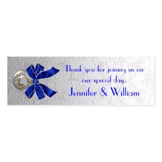Etiquetas de encargo del favor del boda del damasc tarjetas personales