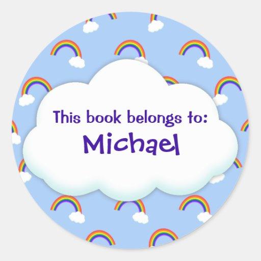 Etiquetas de encargo del libro del arco iris pegatina redonda