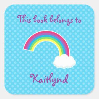 Etiquetas de encargo del libro del arco iris y de pegatina cuadrada
