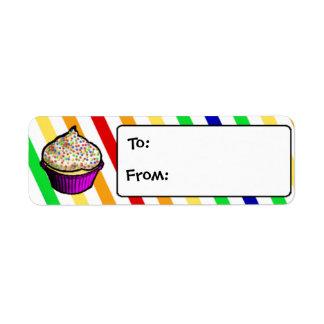 Etiquetas de encargo del regalo de la magdalena de etiqueta de remitente