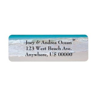 Etiquetas de encargo del remite de la playa y del  etiqueta de remitente