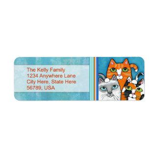 Etiquetas de encargo del remite de los gatos etiquetas de remite