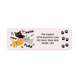 Etiquetas de encargo del remite del arte del gato etiqueta de remite