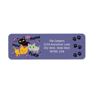 Etiquetas de encargo del remite del arte del gato etiqueta de remitente