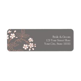 Etiquetas de encargo del remite del boda coralino  etiquetas de remite