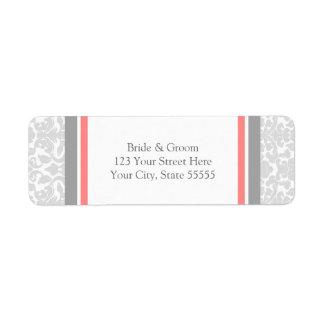 Etiquetas de encargo del remite del boda gris cora etiqueta de remitente