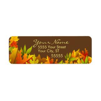 Etiquetas de encargo del remite del otoño etiqueta de remitente