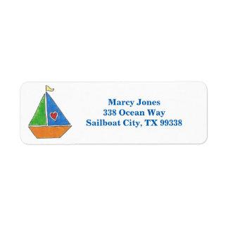 Etiquetas de encargo del velero etiqueta de remite