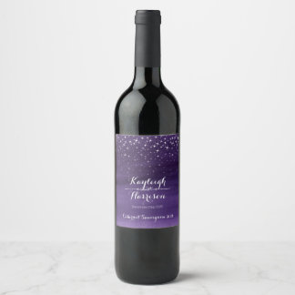 Etiquetas de encargo del vino del boda estrellado