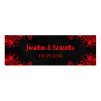 Etiquetas de encargo florales rojas góticas negras tarjetas de visita mini