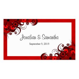 Etiquetas de encargo florales rojas y blancas del tarjetas de visita
