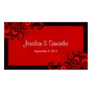 Etiquetas de encargo góticas rojo oscuro florales tarjetas de visita