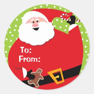 Etiquetas de encargo redondas del regalo de Santa Pegatina Redonda
