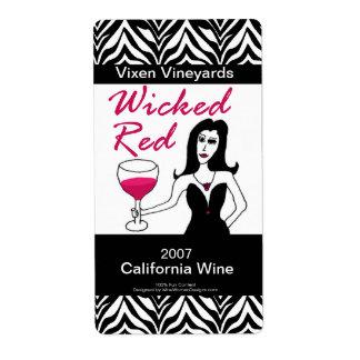 Etiquetas de encargo rojas traviesas del vino del etiquetas de envío