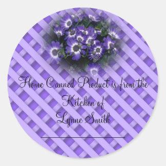 Etiquetas de enlatado caseras -- con las flores pegatina redonda