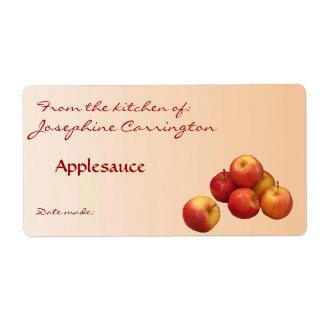 Etiquetas de enlatado de la compota de manzanas etiquetas de envío