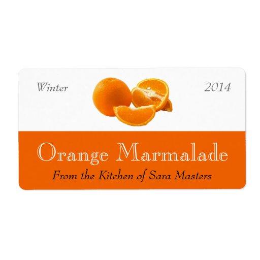 Etiquetas de enlatado de la mermelada anaranjada etiqueta de envío
