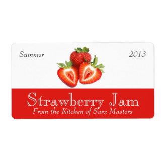 Etiquetas de enlatado de la mermelada de fresa etiquetas de envío