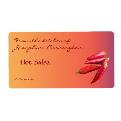 Etiquetas de enlatado de la salsa caliente etiqueta de envío
