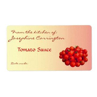 Etiquetas de enlatado de la salsa de tomate etiqueta de envío