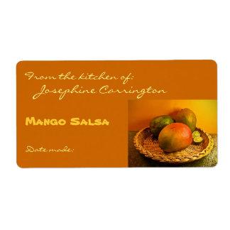 Etiquetas de enlatado de la salsa del mango etiquetas de envío