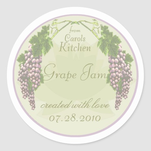 Etiquetas de enlatado del atasco de la uva pegatinas redondas