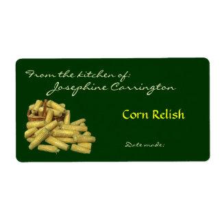 Etiquetas de enlatado del condimento del maíz etiqueta de envío