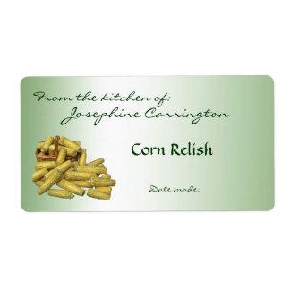 Etiquetas de enlatado del condimento del maíz etiquetas de envío