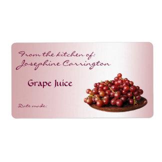Etiquetas de enlatado del jugo de uva etiqueta de envío