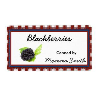 Etiquetas de enlatado del personalizado de Blackbe Etiqueta De Envío