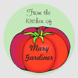 Etiquetas de enlatado del tomate rojo grande pegatina redonda