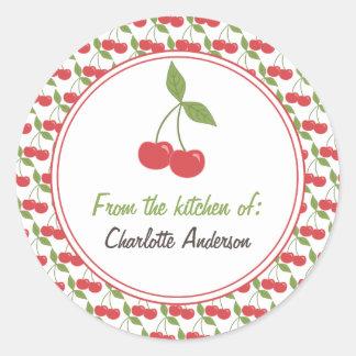 Etiquetas de enlatado personalizadas - cerezas pegatinas redondas