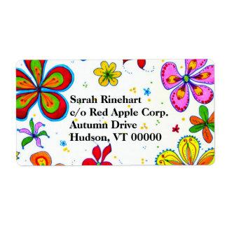 Etiquetas de envío artísticas de las flores