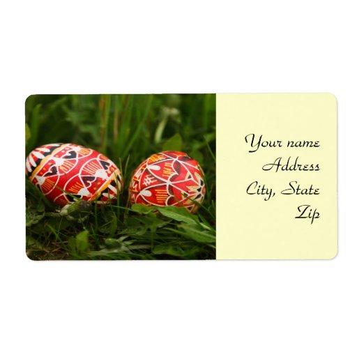 Etiquetas de envío de los huevos de Pascua
