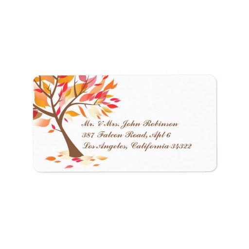 Etiquetas de envío del árbol del tema del otoño