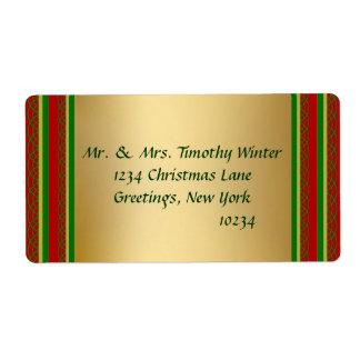 Etiquetas de envío elegantes del navidad del oro