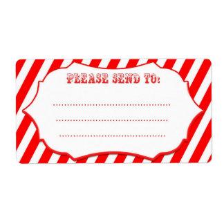 Etiquetas de envío rojas de la raya del circo
