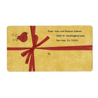 Etiquetas de envío rojas del navidad del pájaro